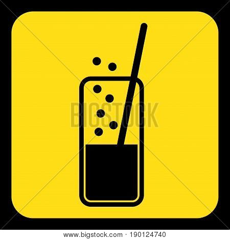 yellow rounded square information road sign - black glass with carbonated drink and straw icon and frame