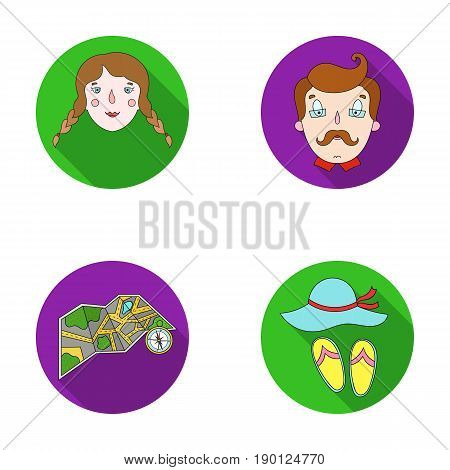Travel, vacation, camping, map .Family holiday set collection icons in flat style vector symbol stock illustration .