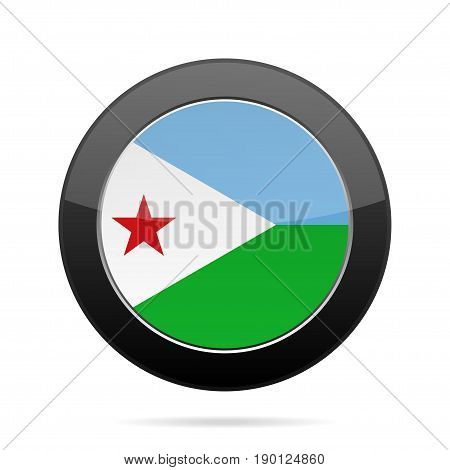 National flag of Djibouti. Shiny black round button with shadow.