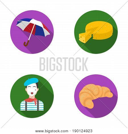 Umbrella, traditional, cheese, mime .France country set collection icons in flat style vector symbol stock illustration .