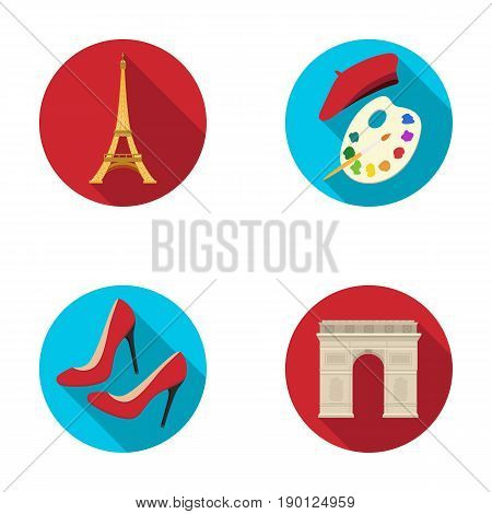 Eiffel tower, brush, hat .France country set collection icons in flat style vector symbol stock illustration .