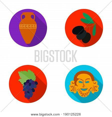 Greece, olive, branch, vase .Greece set collection icons in flat style vector symbol stock illustration .