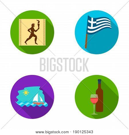 Greece, running, wine, flag .Greece set collection icons in flat style vector symbol stock illustration .