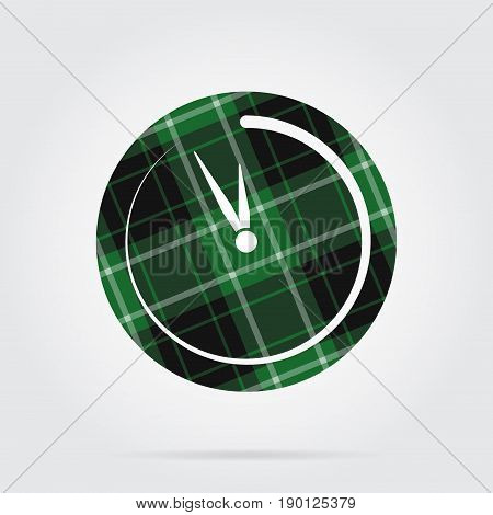 green black isolated tartan icon with white stripes - last minute clock and shadow in front of a gray background