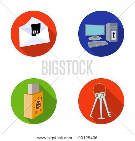 Virus, monitor, display, screen .Hackers and hacking set collection icons in flat style vector symbol stock illustration .