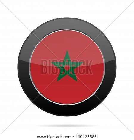 National flag of Morocco. Shiny black round button with shadow.
