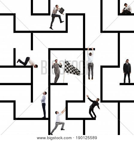 Business person inside a big maze like a business game