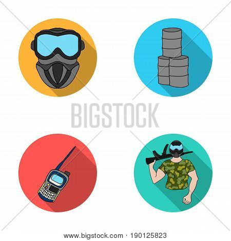 Equipment, mask, barrel, barricade .Paintball set collection icons in flat style vector symbol stock illustration .