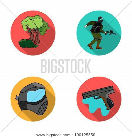 Mask, gun, paint, inventory .Paintball set collection icons in flat style vector symbol stock illustration .