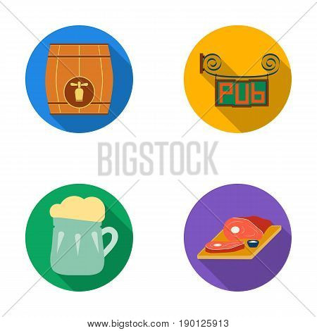Restaurant, cafe, beer, glass .Pub set collection icons in flat style vector symbol stock illustration .