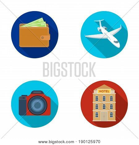 Vacation, travel, wallet, money .Rest and travel set collection icons in flat style vector symbol stock illustration .
