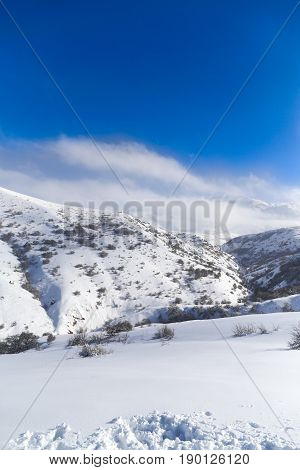 beautiful Tien-Shan mountains in the snow. in winter .