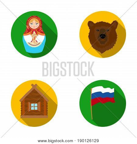 Russia, country, nation, matryoshka .Russia country set collection icons in flat style vector symbol stock illustration .