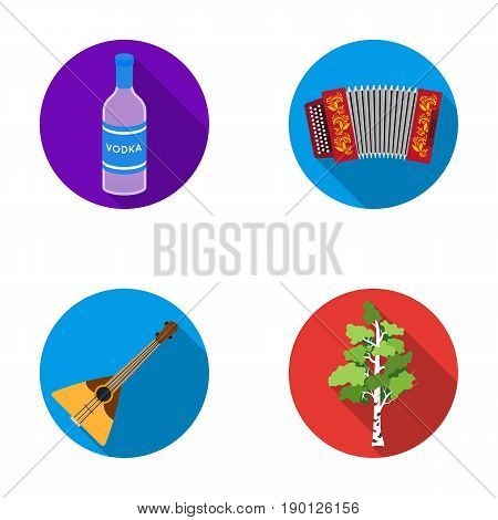 Russia, country, vodka, accordion .Russia country set collection icons in flat style vector symbol stock illustration .