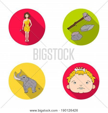 Weapon, hammer, elephant, mammoth .Stone age set collection icons in flat style vector symbol stock illustration .