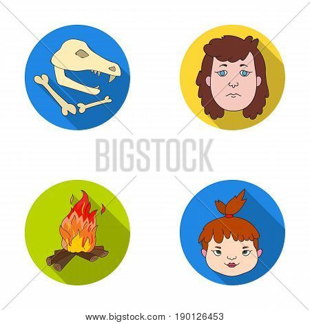 Woman, hair, face, bonfire .Stone age set collection icons in flat style vector symbol stock illustration .