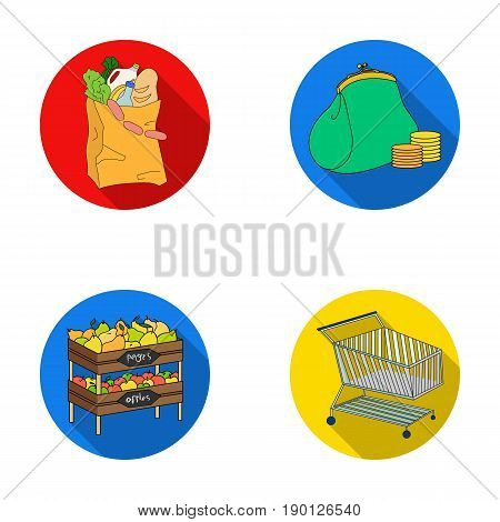 Sausages, fruit, cart .Supermarket set collection icons in flat style vector symbol stock illustration .