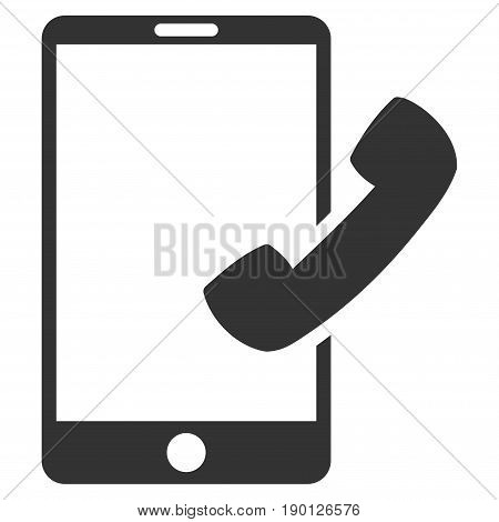 Call Smartphone vector icon. Flat gray symbol. Pictogram is isolated on a white background. Designed for web and software interfaces.