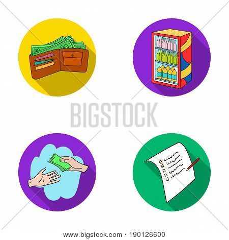 Purchase, goods, shopping, showcase .Supermarket set collection icons in flat style vector symbol stock illustration .