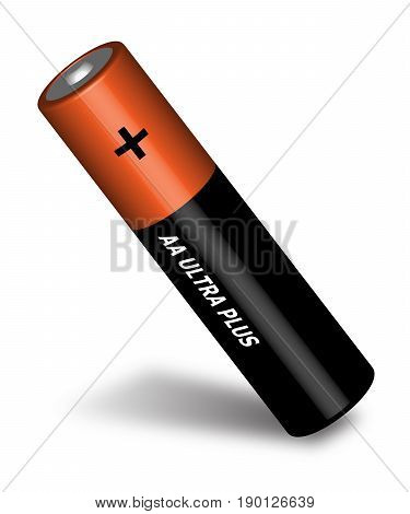 Penlight battery. Brown battery. Cylindrical battery. vector