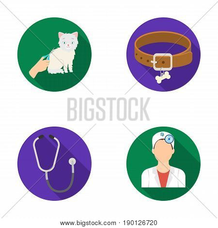 Collar, bone, cat, haircut .Vet Clinic set collection icons in flat style vector symbol stock illustration .