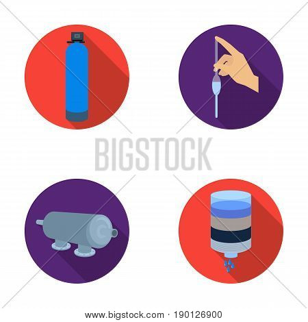 System, balloon, hand, trial .Water filtration system set collection icons in flat style vector symbol stock illustration .