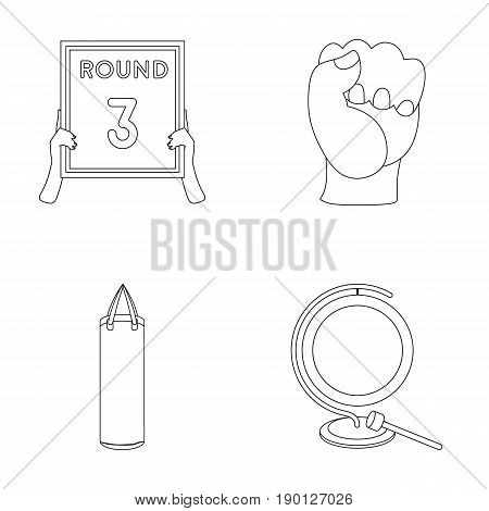 Boxing, sport, round, hand .Boxing set collection icons in outline style vector symbol stock illustration .