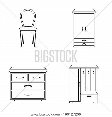 Armchair, cabinet, bedside, table .Furniture and home interiorset collection icons in outline style vector symbol stock illustration .