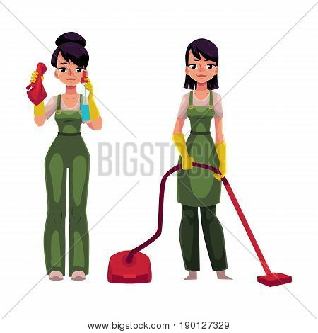 Two cleaning service girls in overalls, one with vacuum cleaner, another washing windows, cartoon vector illustration isolated on white background. Service girls, vacuum cleaning, washing windows