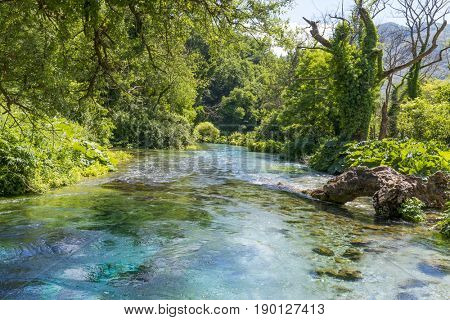 Blue Eye is a water spring and natural phenomenon occurring near Muzine in Vlore County, Albania. It is initial water source of Bistrice river.