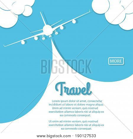 Airplane above the mountains with white ribbon in blue sky. Biplane with banner. Vintage plane travel poster. Vector