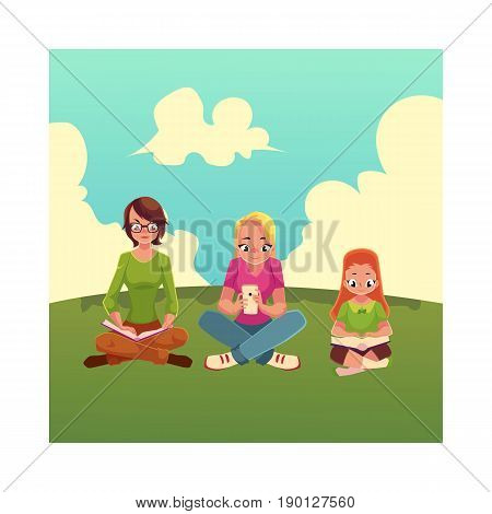 Set of girls reading books and using mobile phone on the grass, cartoon vector illustration isolated on white background. Little, adult girls reading books and using smartphone, mobile phone sitting