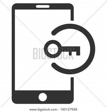 Key Login Smartphone vector icon. Flat gray symbol. Pictogram is isolated on a white background. Designed for web and software interfaces.