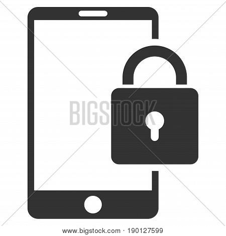 Lock Smartphone vector icon. Flat gray symbol. Pictogram is isolated on a white background. Designed for web and software interfaces.