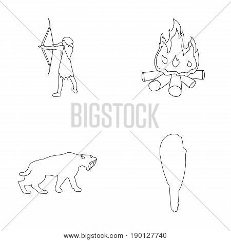 Man, hunter, onion, bonfire .Stone age set collection icons in outline style vector symbol stock illustration .