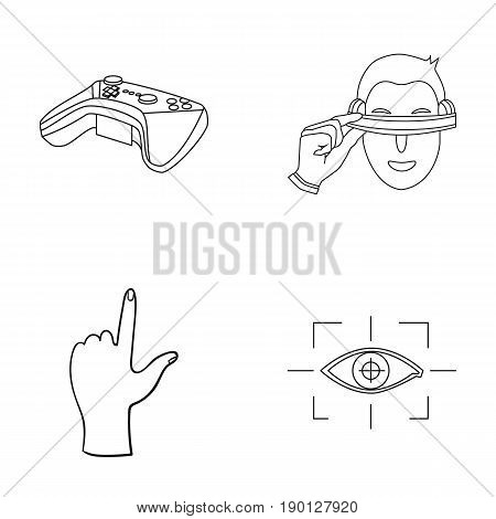 Virtual, reality, helmet, computer, technology, .Virtual reality set collection icons in outline style vector symbol stock illustration .