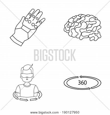 Technology, innovation, man, complemented .Virtual reality set collection icons in outline style vector symbol stock illustration .