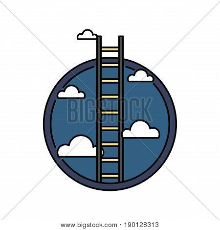 Business success ladder to the sky, retro colored circular icon, achievement concept vector