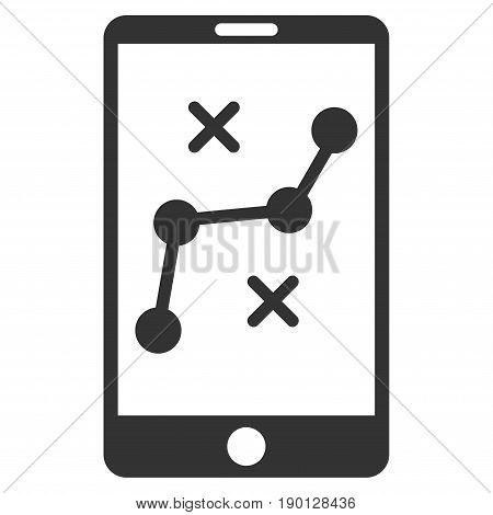 Mobile Navigation Route vector icon. Flat gray symbol. Pictogram is isolated on a white background. Designed for web and software interfaces.