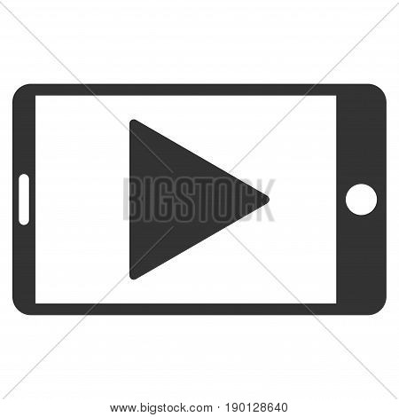 Mobile Start Play vector icon. Flat gray symbol. Pictogram is isolated on a white background. Designed for web and software interfaces.