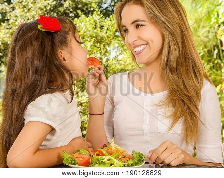 Beautiful young mother and daughter having fun eating a healthy launch.