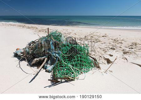 Garbage on the ocean beach
