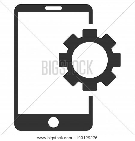 Phone Setup Gear vector icon. Flat gray symbol. Pictogram is isolated on a white background. Designed for web and software interfaces.