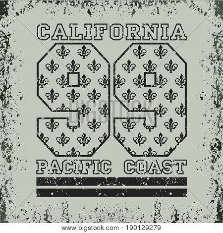 T-shirt California California sports athletics Typography Fashion college sport design the logo the number of floral patterns graphic print image design fashion Typography original design clothing