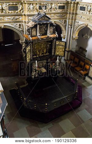 HILLEROD, DENMARK - JUNE 30, 2016: This is the altar in the palace church of the Frederiksborg Castle.