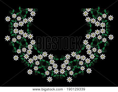 Embroidery stitches imitation fashion frame with folk white flower and leaf. Floral wreath on black background. Embroidery flower vector.
