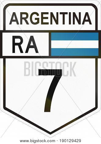 Route Sign Of The Argentinian National Route 7