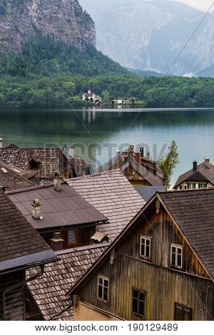 Roof tops of the historical houses in Hallstatt Austria and lake view