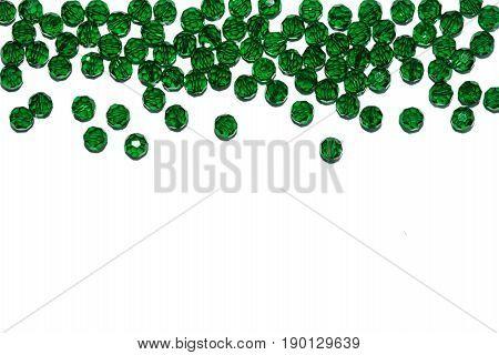 New Year's border. Christmas decor. Green glass beads