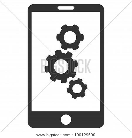 Smartphone Gears vector icon. Flat gray symbol. Pictogram is isolated on a white background. Designed for web and software interfaces.
